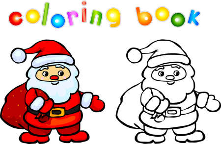 cartoon present: Funny cartoon santa claus coloring book. Vector illustration for children