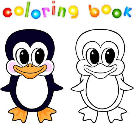 Libro Para Colorear Dibujos Animados De Pingüinos Con La Frontera ...