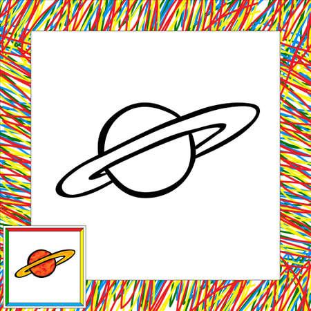second: Cartoon vector planet (second). Coloring book