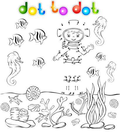 skin diving: Underwater world with diver dot to dot. Vector illustration