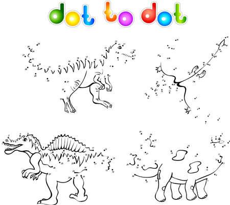 paleontologic: Funny cartoon dinosaurs. First set. Coloring book dot to dot Illustration