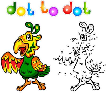 popinjay: Funny cartoon parrot dot to dot. Vector illustration for child