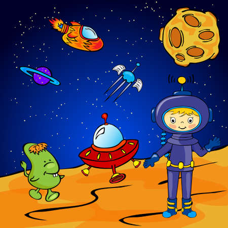 moon rover: Astronaut and space monster near the rocket. Vector illustration
