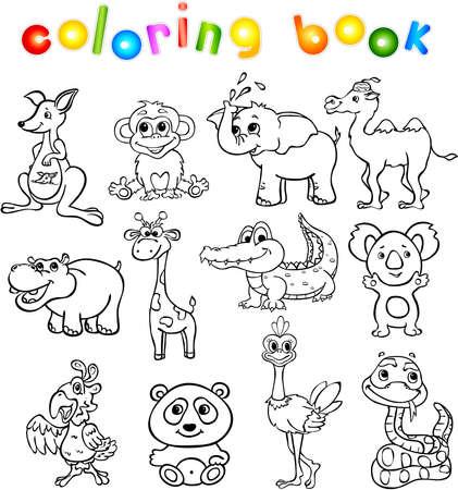 animal in the wild: Conjunto de animales salvajes tercero para los niños. Libro de colorear