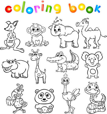 isolated animal: Set of wild animals third for children. Coloring book