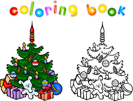 books new books: Christmas tree coloring book. New year illustration for children. Vector