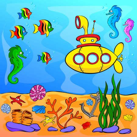 peces caricatura: Mundo subacuático con submarino amarillo. Ilustración vectorial Vectores