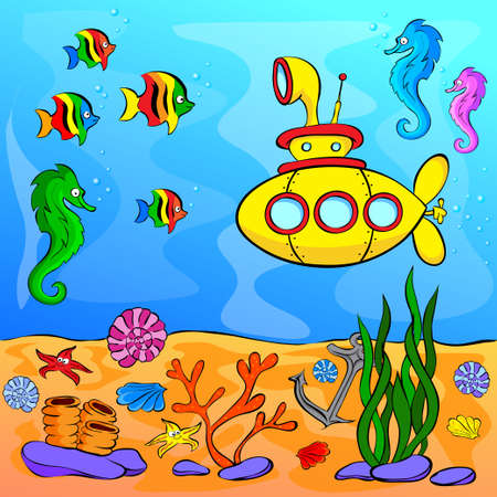 green fish: Underwater world with yellow submarine. Vector illustration