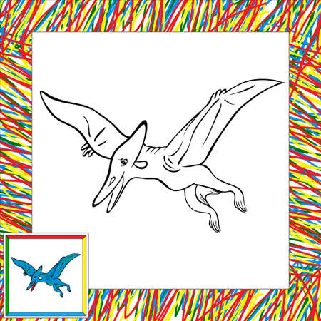 pterodactyl: Funny cartoon pterodactyl. Coloring book for children