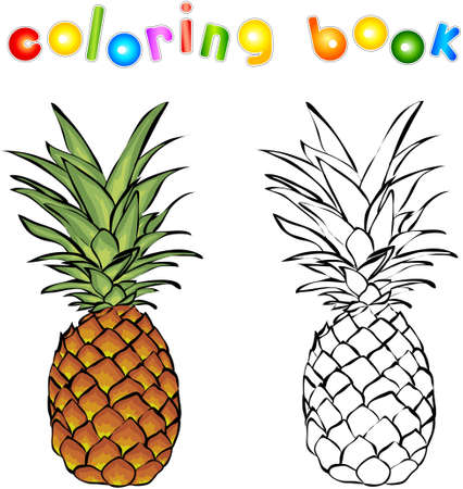 pineapple: Cartoon pineapple coloring book. Vector illustration for children
