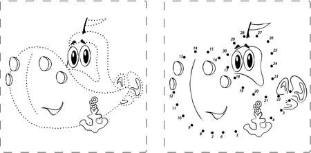 teaching crayons: Coloring book. Funny ship drawing with dots and digits Illustration