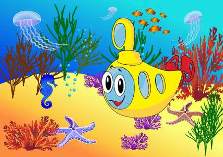 ocean floor: Cartoon submarine in the ocean floor. Vector illustration Illustration