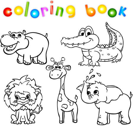 Set of wild animals first. Coloring book for children