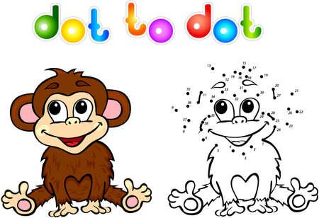 Libro Para Colorear Dibujos Animados Mono Divertido. Ilustración Del ...