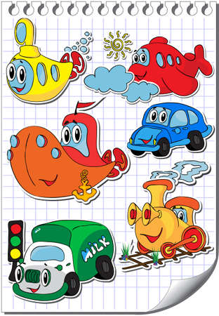 cartoon submarine: Vector set of funny and kind cartoon transport Illustration