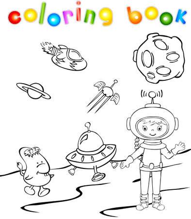 Monstruo De Astronautas Y El Espacio Cerca Del Cohete. Ilustración ...