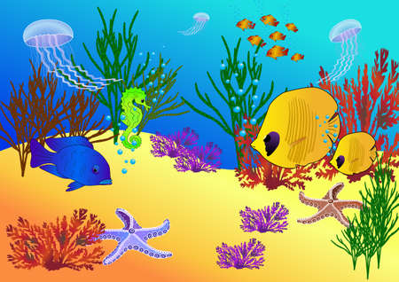 kiddy: Under water animals, algae and breathing bubbles. Vector illustration on EPS 8