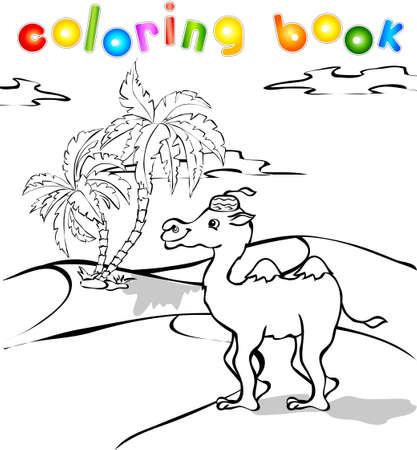 cartoon camel: Funny cartoon camel in desert coloring book. Vector illustration for children