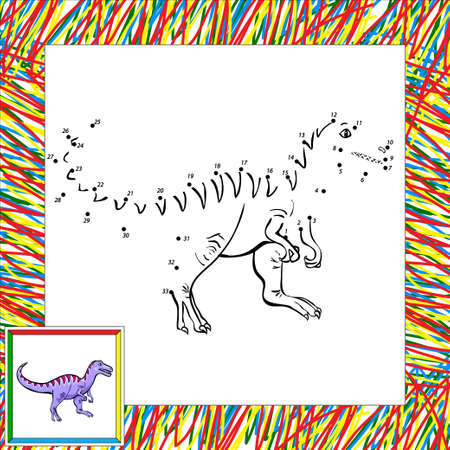 tyrannosaur: Funny cartoon tyrannosaur. Coloring book for children dot to dot