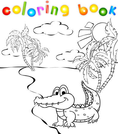 Funny cartoon crocodile near a river coloring book. Vector illustration for children