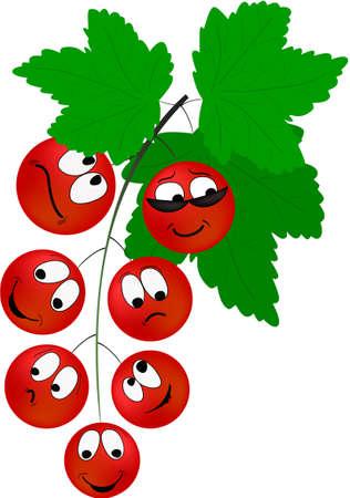 emozioni: Cartoon bacche di ribes rosso con diverse emozioni