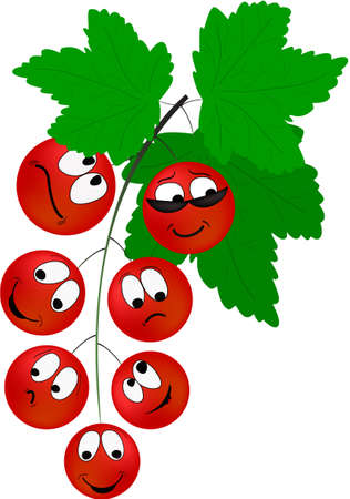 Cartoon red currant berries with different emotions