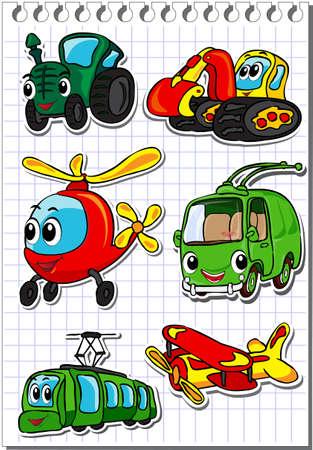 tren caricatura: Conjunto de transporte de dibujos animados - tractor, trolebús, helicóptero, tranvía, avión y excavadora. Ilustración vectorial