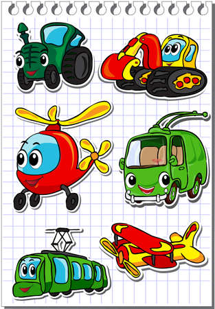 Set of cartoon transport - tractor, trolleybus, helicopter, tram, airplane and excavator. Vector illustration Illustration