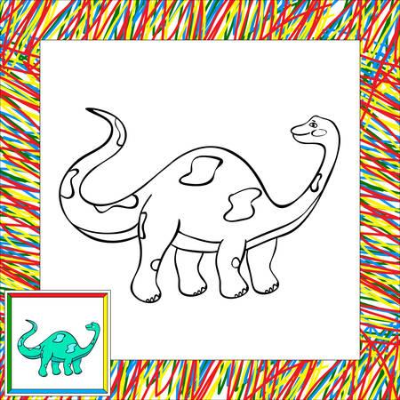 Funny cartoon diplodocus. Coloring book for children