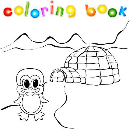 Oso Polar, Yurta De Hielo Para Colorear Iglú. Ilustración Vectorial ...
