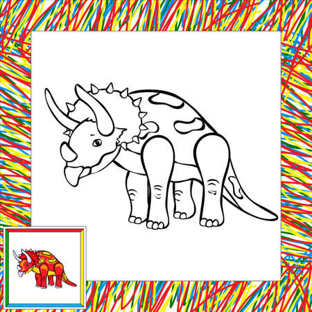 triceratops: Funny cartoon triceratops. Coloring book for children