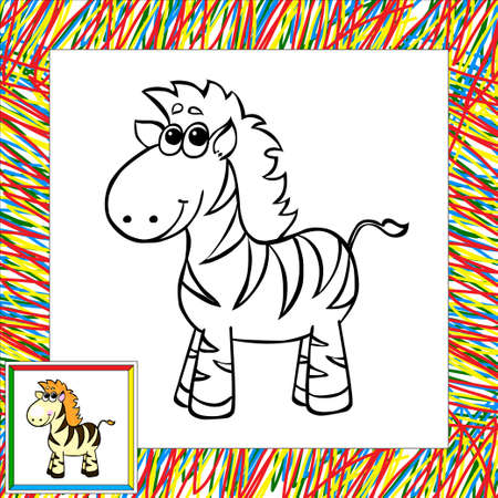funny cartoon zebra coloring book vector illustration for child vector
