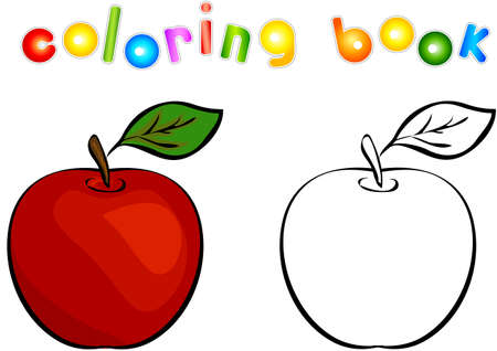 apple red: Cartoon apple coloring book. Vector illustration for children