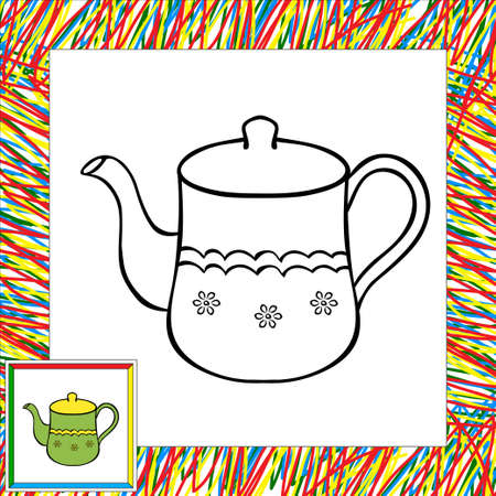 afternoon: Teapot coloring book. Vector illustration for children