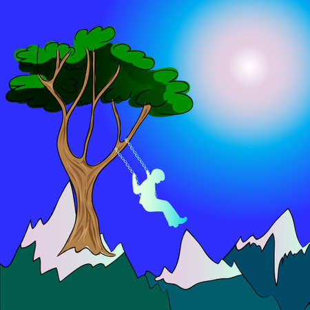swinging: Child swinging on the mountains to the sky Illustration