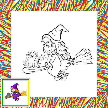 fanny: Fanny cartoon witch flying with her cat dot to dot