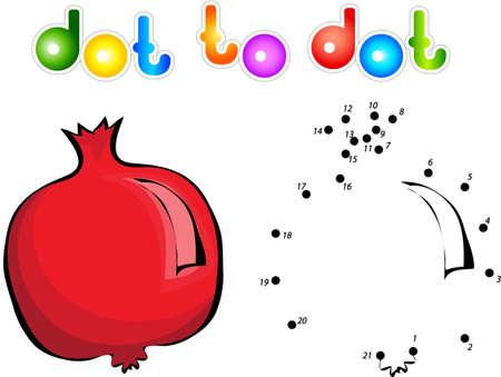 garnet: Cartoon garnet dot to dot. Vector illustration for children Illustration