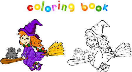 broomstick: Cartoon witch with cat flying on a broomstick. Coloring book for children