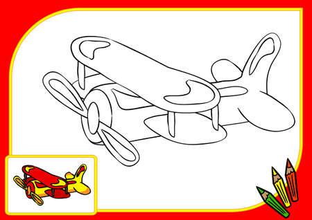 Libro De Colorear. Dibujo Avión Con Puntos Y Dígitos Ilustraciones ...