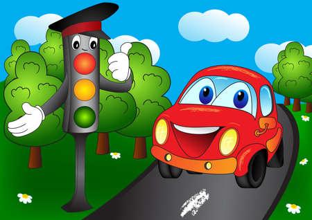 carro caricatura: Luminoso semáforo y coche en el camino forestal. Ilustración vectorial de dibujos animados en EPS 8