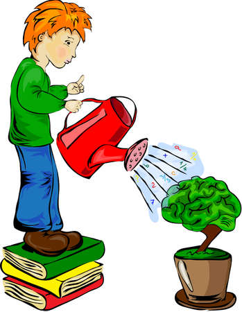 Boy standing on books and watering with knowledge his brain