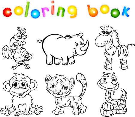 Conjunto De Animales Salvajes Primero. Libro Para Colorear Para Los ...