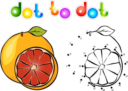 grapefruit: Cartoon grapefruit dot to dot. Vector illustration for children