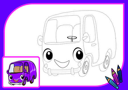 autobus: Coloring book with dots. Vector illustration of funny autobus
