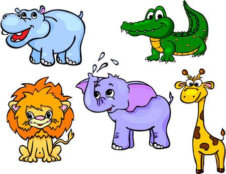 hipopotamo cartoon: Conjunto de animales salvajes primero. Ilustración del vector para los niños Vectores
