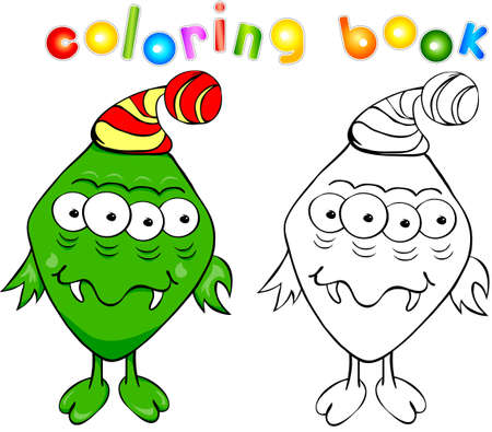 bogie: Coloring book. Funny green monster