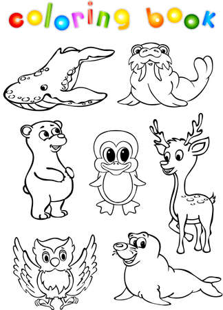 animals in the wild: Animals wild set fourth coloring book. Vector illustration for children Illustration