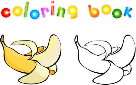 Colorear Página Del Libro. Plátano. Croquis Y Versión En Color ...