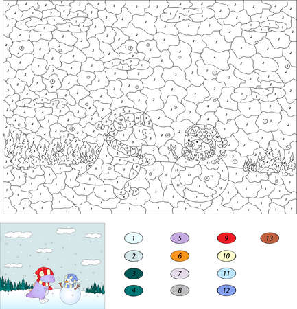 Color by number educational game for kids. Purple dragon and cute snowman in the winter forest. Vector illustration for schoolchild and preschool
