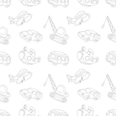 Naadloze textuur met zwart-wit vervoer: onderzeeër, auto, bus, vliegtuig en kraan. Vector illustratie voor kinderen Stock Illustratie
